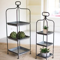Metal Display Stands w/ Galvanized Trays (Set of 2)