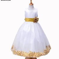 WEONEDREAM 2016 Bow Flower Girl Dresses Ball Gown Tank Summer Performance Clothing for Weddings Party Dresses Flower Organza