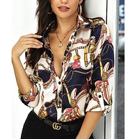 New fashion street long sleeve printed shirt