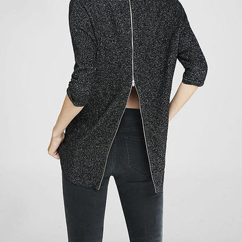 Metallic Zip Back Hi-lo Hem Sweater from EXPRESS