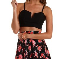 Plunging Bustier Crop Top by Charlotte Russe