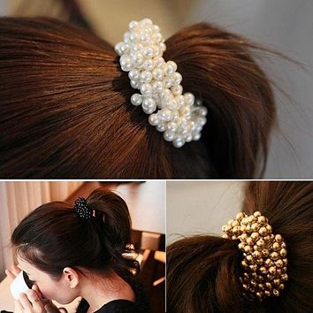 Fashion Women Hair Accessories Circle Pearls Beads Headbands Gum for hair Scrunchie Ponytail Hair Elastic