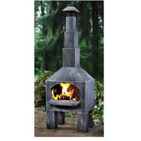 Outdoor Cooking Pizza Chiminea Fireplace Patio Fire Pit Backyard Wood Steel