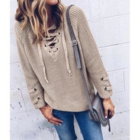 Women Sweater and Pullovers V Neck Knitted Lace up Sweater Striped Bandage Cross Ties Tops Loose Casual Long Jumper