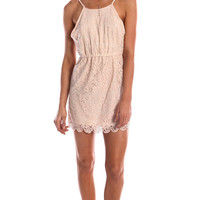 LOW BACK SCALLOP HEM LACE DRESS