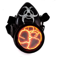 Red Plasma Light Cosplay Respirator Gas Mask Sound Activated Bio Hazard