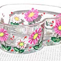 Painted Heart Shaped Bowl With Pink Flowers Valentine's Day Gift