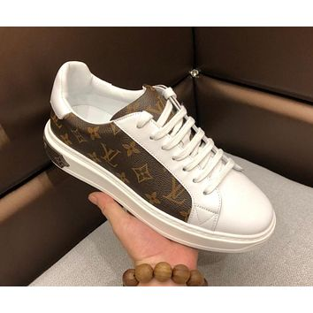 LV Louis Vuitton 2019 new style brand men's presbyopia tie casual shoes low to help sports shoes White