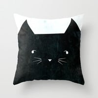 Black Kitty  Throw Pillow by House of Jennifer