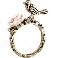 Gold Ring Featuring Bird and Flower Design