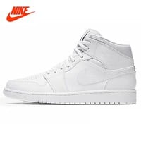 Original New Arrival NIKE Men's High Top Lightest Leather Basketball Shoes Sneakers
