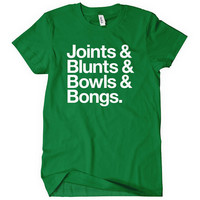 Joints Blunts Bowls Bongs Women's T-shirt - S to 2XL - Black, Brown, Green or Gray