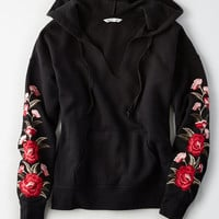 AE Embroidered Notch-Neck Hoodie, True Black