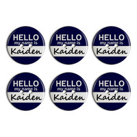 Kaiden Hello My Name Is Plastic Resin Button Set of 6