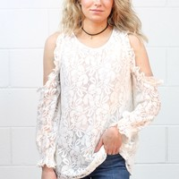 Sweet Lace Cold Shoulder Blouse {Off White}