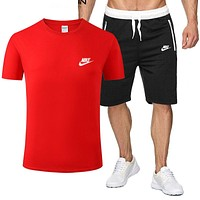NIKE Summer Fashion Men Casual Print Short Sleeve Top Shorts Suit Two-Piece Sportswear Red