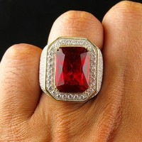 Vintage Big Mens Signet Rings With Stone Red Zircon Crystal Gold Rings For Men Jewelry Wedding Engagement Fashion Jewelry A0408
