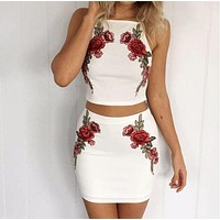 White embroidered two-piece White red flower dress