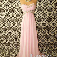 Custom Made A-line Pink Chiffon Long Prom Dresses, A-line Strapless Cheap Prom Dress, Bridesmaid Dresses, Dress For Prom 2014