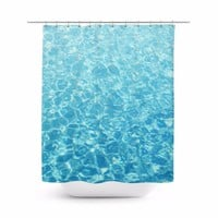 Crystal Oceans - Shower Curtain, 71x74 Inches, Beach Surf Style Blue Water Decor