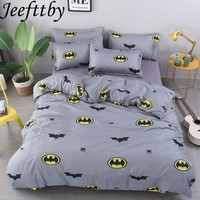 Textiles Batman Cartoon Decoration3/4pcs Bedding Set Twin Full Queen King Duvet Cover Bed Sheet Pillowcase Bed Linen Bedclothes