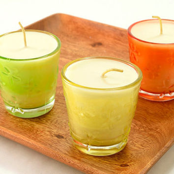 Summer Candles Container Soy Candle Shabby Chic Dragonflies Flowers Glass Container Candles Choose Yellow Orange Green