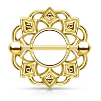 Gold Tribal Shield Nipple Ring with 316L Surgical Steel Barbell 14ga Nipple Barbell