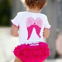 RuffleButts | White 'So Blessed' Angel Knit Lap Tee