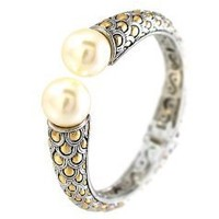 2 Tone Fish Scale Vintage Style Cuff Bangle Bracelet Hinged with Pearls Ends: Jewelry: Amazon.com