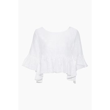 St Lucia Cropped Flowy Top - Ivory