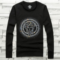 Versace autumn and winter trend cotton men's hot drilling long-sleeved T-shirt Black