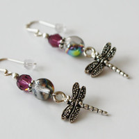 Amethyst beaded Earrings / Silver Dragonfly Charms/ French Wire / Handmade Earrings / Fashion Jewelry
