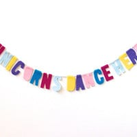 Unicorns Dance Here felt party banner, colorful room banner in pink, blue, yellow, purple and orange felt