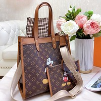 Hipgirls LV New Fashion Monogram Print Leather Shoulder Bag Crossbody Bag Two Piece Suit Bag
