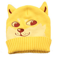 Puppy Dog Shaped Doge Animal Meme Themed Knit Beanie in Yellow