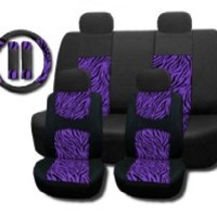 New and Exclusive Mesh Animal Print Interior Set Purple Zebra 11pc Seat Covers Front & Back Lowback, Back Bench, Steering Wheel & Seat Belt Covers - Padded Comfort