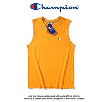 Champion New fashion embroidery logo vest couple top t-shirt Yellow