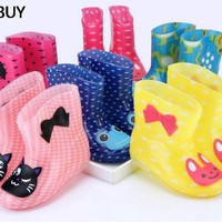 hOT Children Spring Autumn Winter Boys Girls Baby Kids Rhino Candy Color with Frog Cat Rabbit Rain Boots Waterproof Shoe
