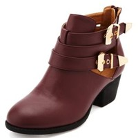 Cutout Metal Buckle Ankle Bootie by Charlotte Russe - Oxblood
