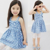 Sweet Baby Girl Kids Bowknot Polka Dots One-piece Dress Shoulder Straps Blue 1I6