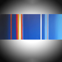 "ARTFINDER: Lateral Flats  triptych 3 panel wall art colorful images 3 panel triptych orange blue canvas wall abstract canvas pop abstraction 60 x 28"" by Stuart Wright - ""Lateral Flats"" 