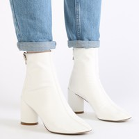 Siena Block Heel Ankle Boots in White