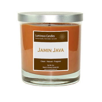Soy Candle - Jamin Java Scented – 8 oz Rock Glass Jar Candle with a Brushed Metal Lid