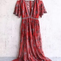 wild honey - as you wish embroidered lace maxi dress with contrasting detailing (women) - paprika