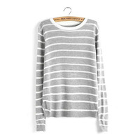 Striped Long Sleeve Knitted Pullover Sweater