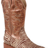 Roper Ladies Bling Sqtoe Faux Leather Sole Boots Sq Toe Glitter Boot With Brown Gold