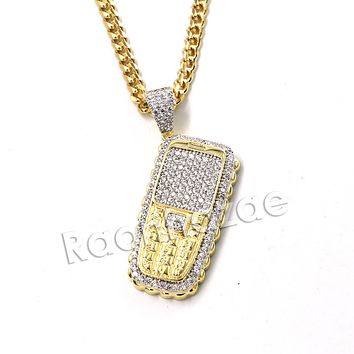 Hiphop Cellphone Brass Pendant W/ 5mm 18-30 inches Cuban Chain