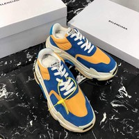 Balenciaga Blue Yellow Triple-S Dad Torre Sneakers Men Womens Trainers Running Shoes