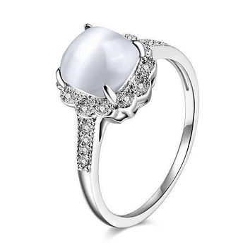 Cabochon White Opal Cz Sterling Silver Ring for Woman