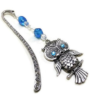 Silver Owl Bookmark with Blue Beads, Blue Bookmark, Beaded Bookmark, Blue & Silver Bookmark,Owl Lovers,Booklovers,Student Gift,Teachers Gift